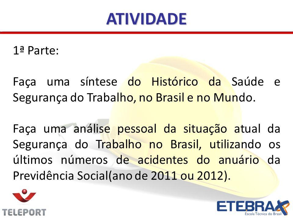ATIVIDADE 1ª Parte: Faça uma síntese do Histórico da Saúde e Segurança do Trabalho, no Brasil e no Mundo. Faça uma análise pessoal da situação atual d