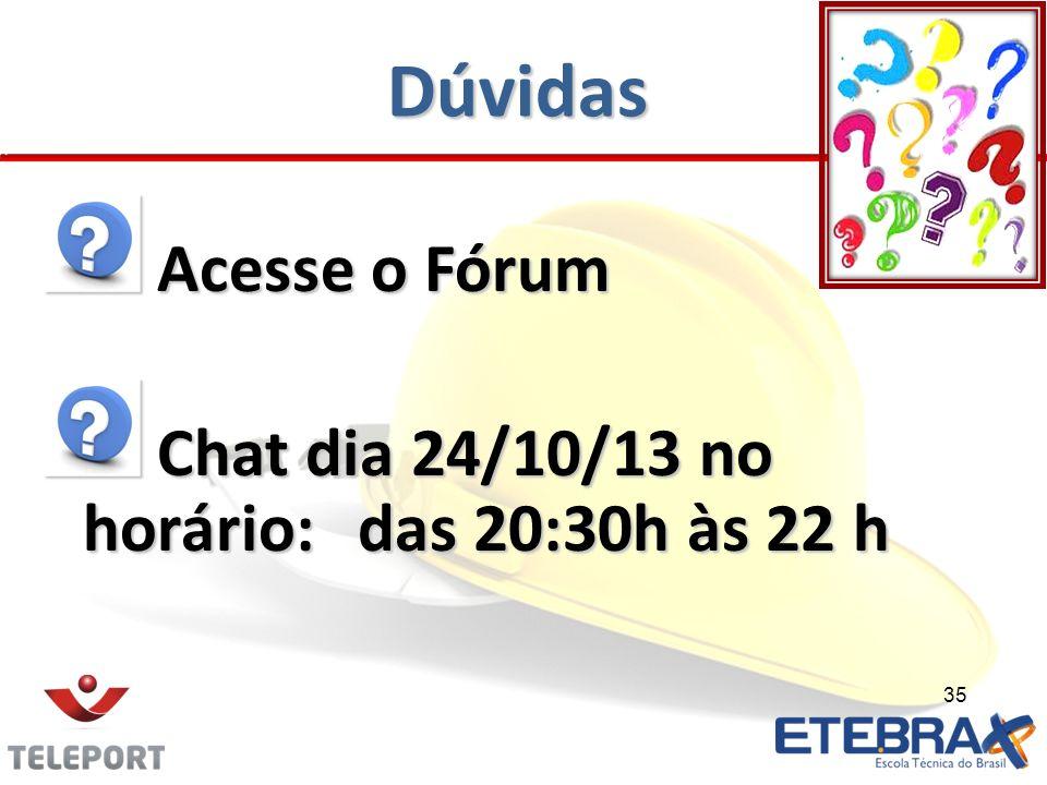 Dúvidas Acesse o Fórum Acesse o Fórum Chat dia 24/10/13 no horário:das 20:30h às 22 h Chat dia 24/10/13 no horário:das 20:30h às 22 h 35