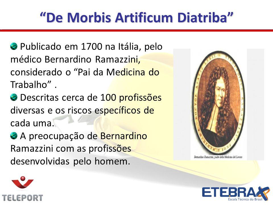 De Morbis Artificum Diatriba Publicado em 1700 na Itália, pelo médico Bernardino Ramazzini, considerado o Pai da Medicina do Trabalho. Descritas cerca