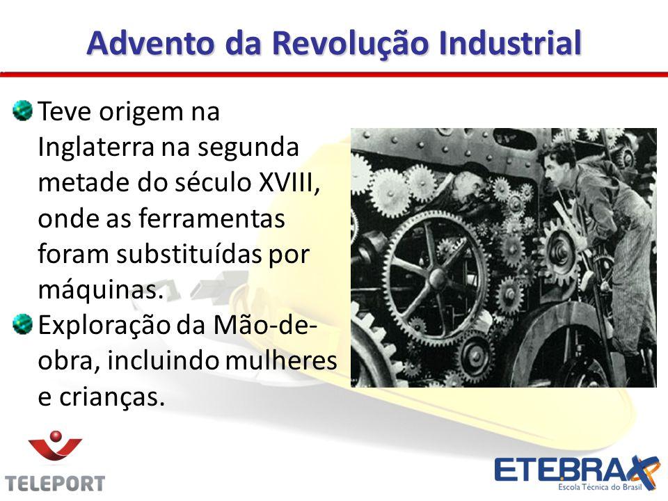 Advento da Revolução Industrial Teve origem na Inglaterra na segunda metade do século XVIII, onde as ferramentas foram substituídas por máquinas. Expl