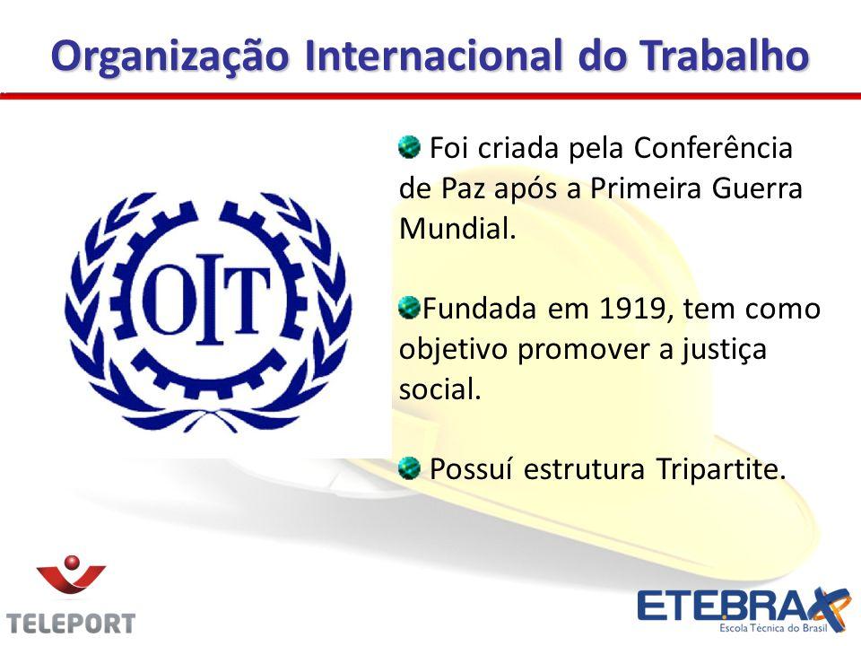 Organização Internacional do Trabalho Foi criada pela Conferência de Paz após a Primeira Guerra Mundial. Fundada em 1919, tem como objetivo promover a