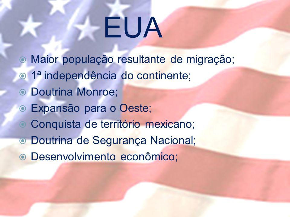 EUA Maior população resultante de migração; 1ª independência do continente; Doutrina Monroe; Expansão para o Oeste; Conquista de território mexicano; Doutrina de Segurança Nacional; Desenvolvimento econômico;