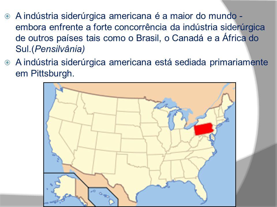 A indústria siderúrgica americana é a maior do mundo - embora enfrente a forte concorrência da indústria siderúrgica de outros países tais como o Brasil, o Canadá e a África do Sul.(Pensilvânia) A indústria siderúrgica americana está sediada primariamente em Pittsburgh.
