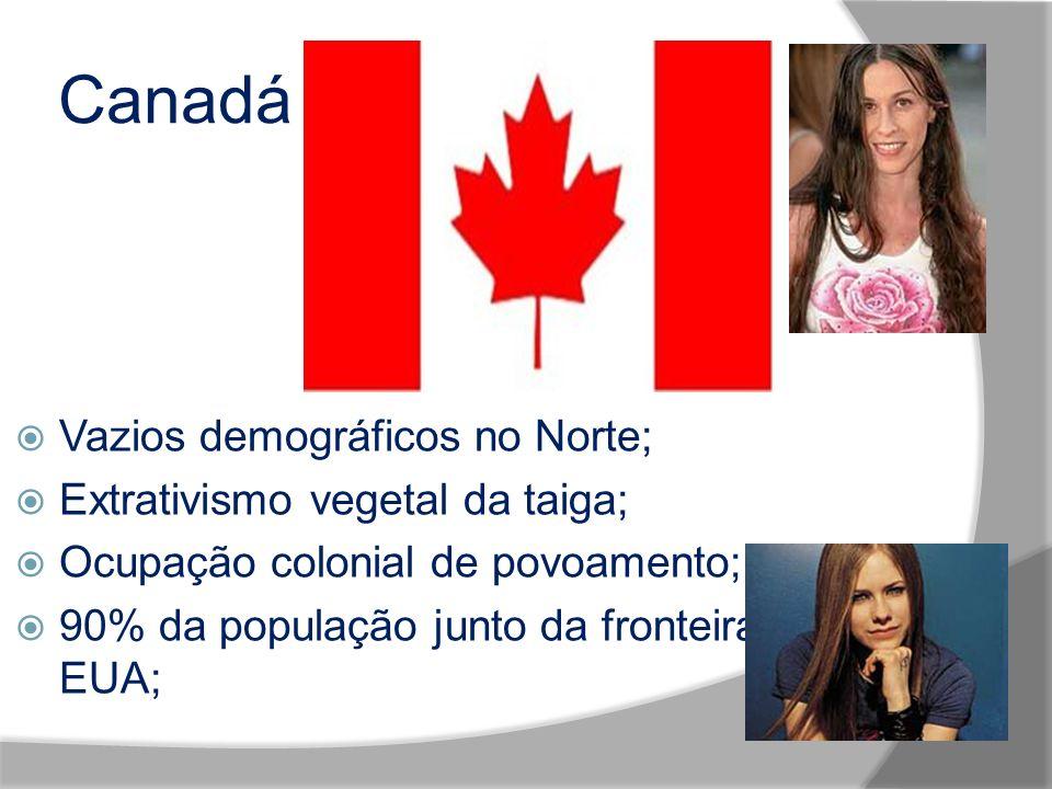 Canadá Vazios demográficos no Norte; Extrativismo vegetal da taiga; Ocupação colonial de povoamento; 90% da população junto da fronteira com EUA;