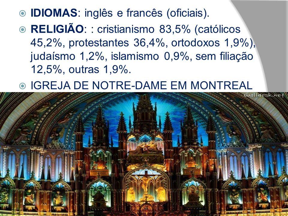 IDIOMAS: inglês e francês (oficiais). RELIGIÃO: : cristianismo 83,5% (católicos 45,2%, protestantes 36,4%, ortodoxos 1,9%), judaísmo 1,2%, islamismo 0
