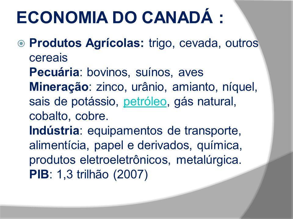 ECONOMIA DO CANADÁ : Produtos Agrícolas: trigo, cevada, outros cereais Pecuária: bovinos, suínos, aves Mineração: zinco, urânio, amianto, níquel, sais de potássio, petróleo, gás natural, cobalto, cobre.