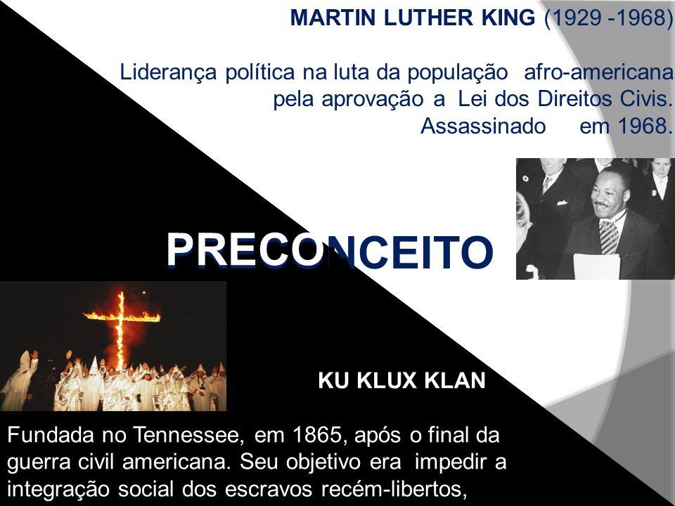 PRECONCEITO PRECO KU KLUX KLAN Fundada no Tennessee, em 1865, após o final da guerra civil americana. Seu objetivo era impedir a integração social dos