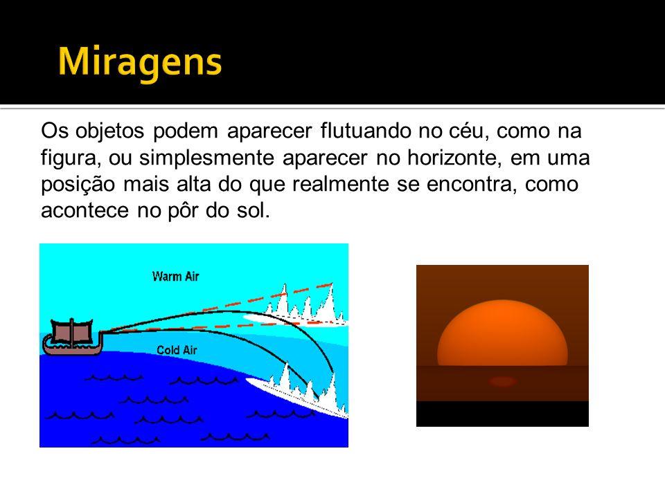 Os objetos podem aparecer flutuando no céu, como na figura, ou simplesmente aparecer no horizonte, em uma posição mais alta do que realmente se encont