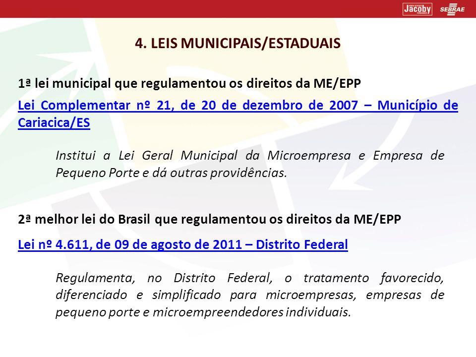 4. LEIS MUNICIPAIS/ESTADUAIS 1ª lei municipal que regulamentou os direitos da ME/EPP Lei Complementar nº 21, de 20 de dezembro de 2007Lei Complementar