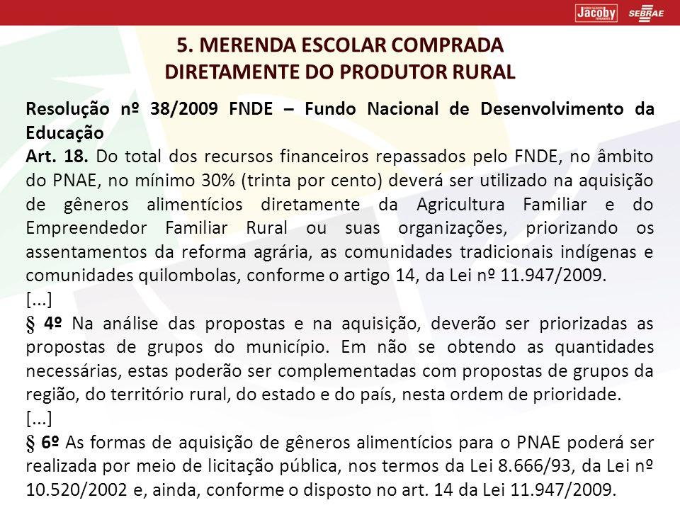 5. MERENDA ESCOLAR COMPRADA DIRETAMENTE DO PRODUTOR RURAL Resolução nº 38/2009 FNDE – Fundo Nacional de Desenvolvimento da Educação Art. 18. Do total