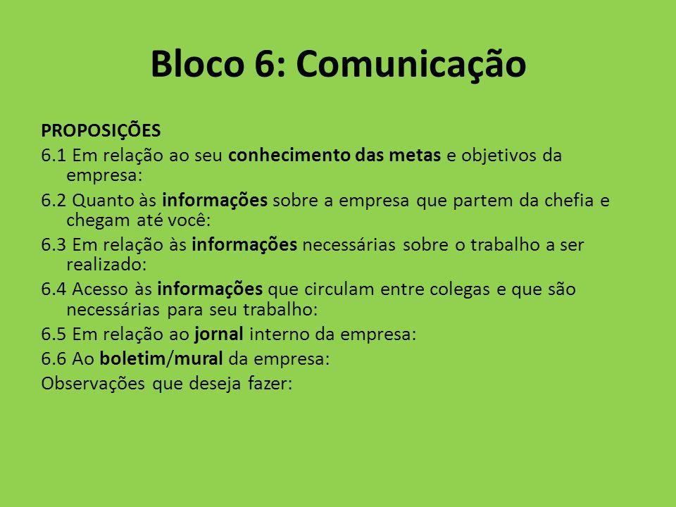 Bloco 6: Comunicação PROPOSIÇÕES 6.1 Em relação ao seu conhecimento das metas e objetivos da empresa: 6.2 Quanto às informações sobre a empresa que pa