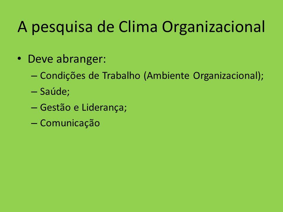 A pesquisa de Clima Organizacional Deve abranger: – Condições de Trabalho (Ambiente Organizacional); – Saúde; – Gestão e Liderança; – Comunicação