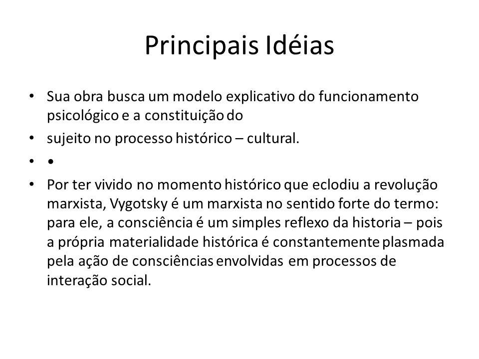 Principais Idéias Sua obra busca um modelo explicativo do funcionamento psicológico e a constituição do sujeito no processo histórico – cultural.