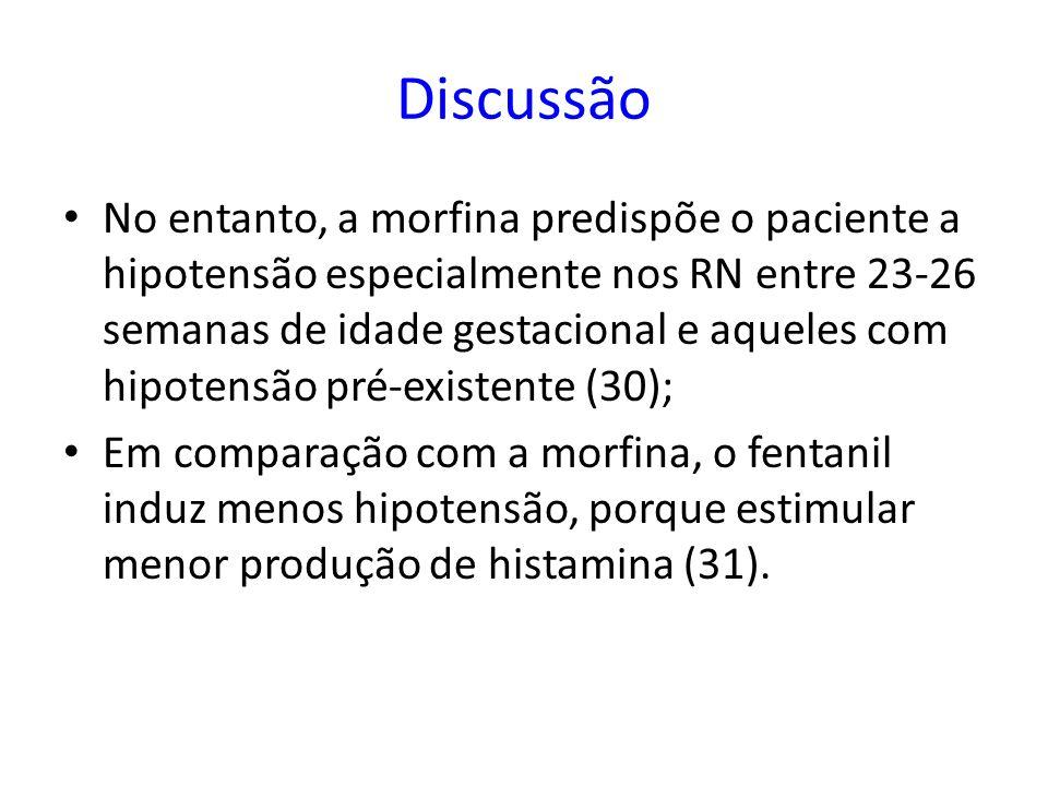 No entanto, a morfina predispõe o paciente a hipotensão especialmente nos RN entre 23-26 semanas de idade gestacional e aqueles com hipotensão pré-exi