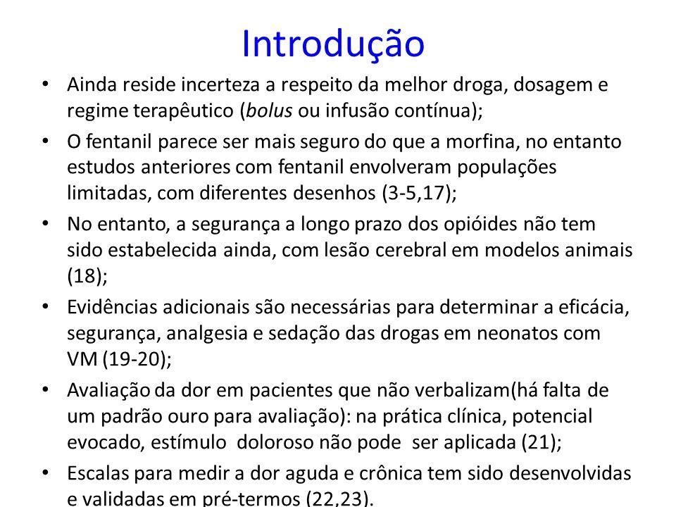 Introdução Ainda reside incerteza a respeito da melhor droga, dosagem e regime terapêutico (bolus ou infusão contínua); O fentanil parece ser mais seg