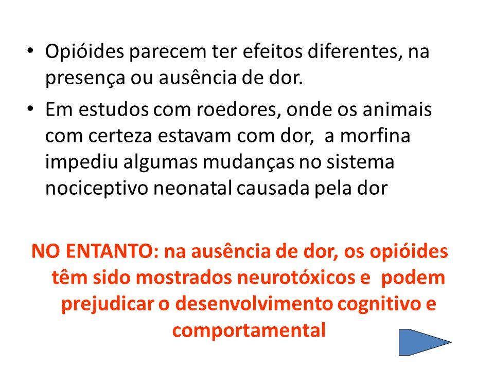 Opióides parecem ter efeitos diferentes, na presença ou ausência de dor. Em estudos com roedores, onde os animais com certeza estavam com dor, a morfi