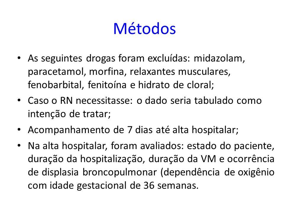 Lago et al (5) também relataram uma tendência a uma maior duração da ventilação mecânica em recém-nascidos tratados com infusão contínua de fentanil comparado com placebo, mas a diferença não foi estatisticamente significativa; No Neurologic Outcomes and Pre-emptive Analgesia in Neonates trial, recém-nascidos recebendo infusão contínua de morfina requereram mais dias de ventilação total, comparado com aqueles que receberam placebo (33).