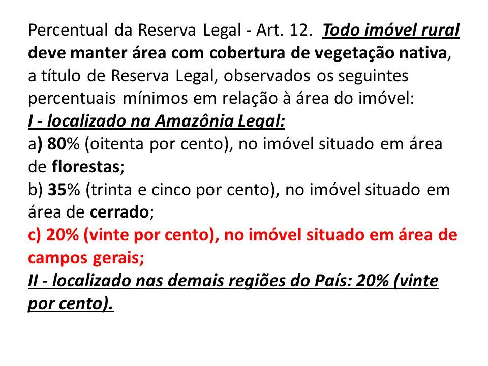 Percentual da Reserva Legal - Art. 12. Todo imóvel rural deve manter área com cobertura de vegetação nativa, a título de Reserva Legal, observados os