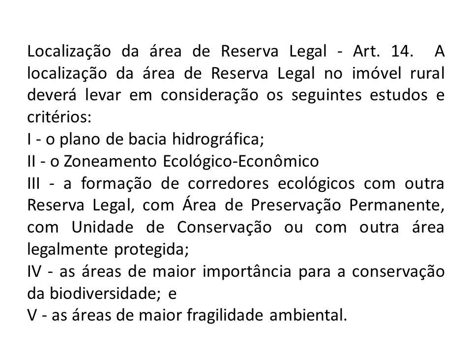 Localização da área de Reserva Legal - Art. 14. A localização da área de Reserva Legal no imóvel rural deverá levar em consideração os seguintes estud