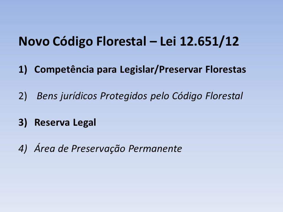 Novo Código Florestal – Lei 12.651/12 1)Competência para Legislar/Preservar Florestas 2) Bens jurídicos Protegidos pelo Código Florestal 3)Reserva Leg
