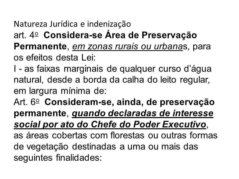 Natureza Jurídica e indenização art. 4 o Considera-se Área de Preservação Permanente, em zonas rurais ou urbanas, para os efeitos desta Lei: I - as fa
