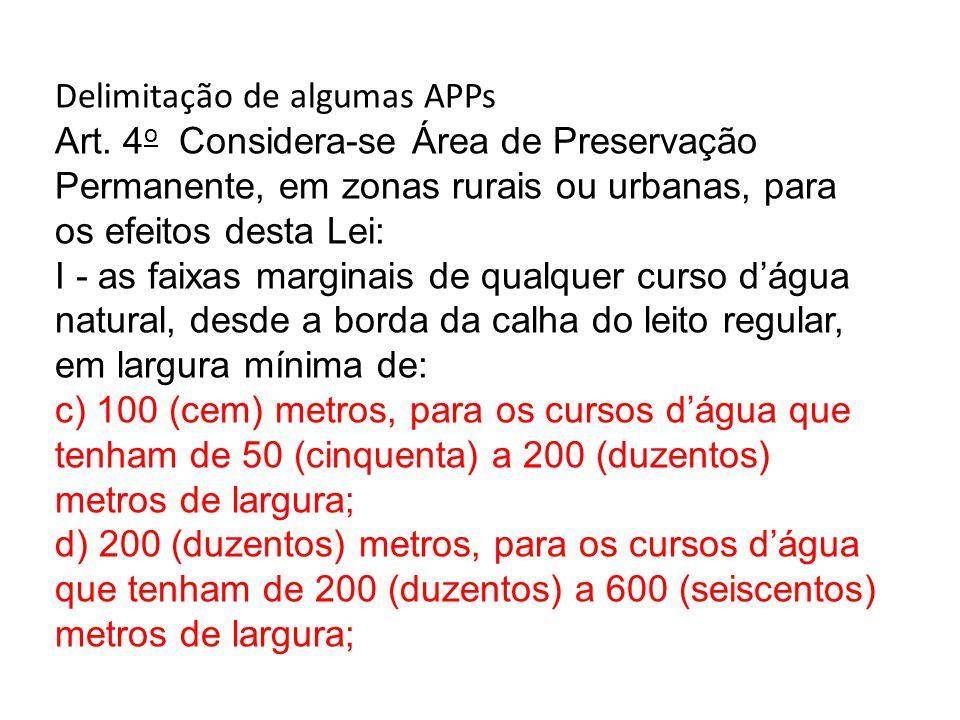 Delimitação de algumas APPs Art. 4 o Considera-se Área de Preservação Permanente, em zonas rurais ou urbanas, para os efeitos desta Lei: I - as faixas