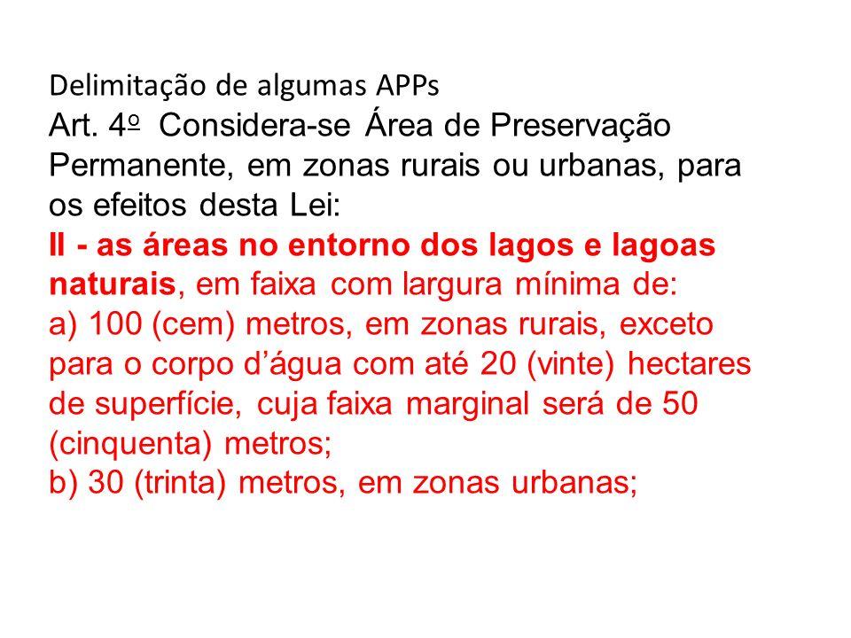 Delimitação de algumas APPs Art. 4 o Considera-se Área de Preservação Permanente, em zonas rurais ou urbanas, para os efeitos desta Lei: II - as áreas