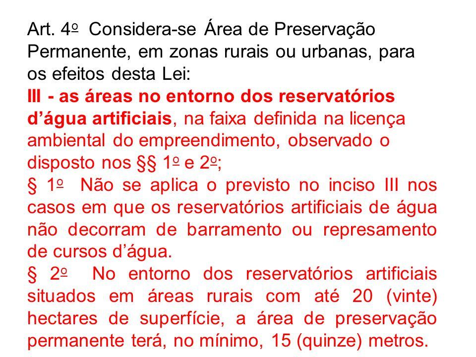 Art. 4 o Considera-se Área de Preservação Permanente, em zonas rurais ou urbanas, para os efeitos desta Lei: III - as áreas no entorno dos reservatóri