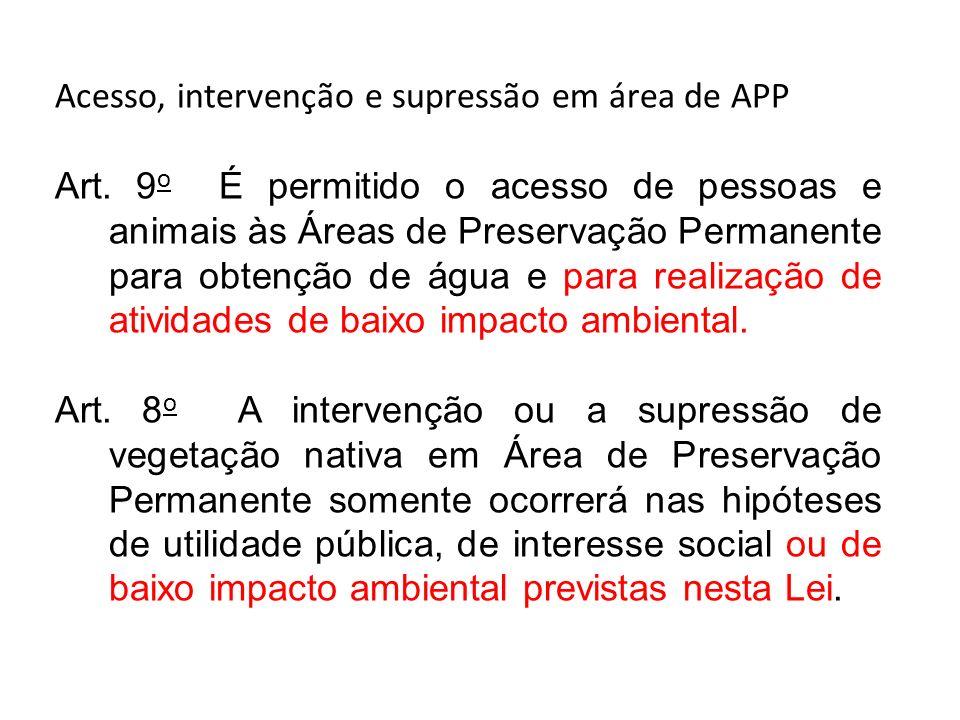 Acesso, intervenção e supressão em área de APP Art. 9 o É permitido o acesso de pessoas e animais às Áreas de Preservação Permanente para obtenção de