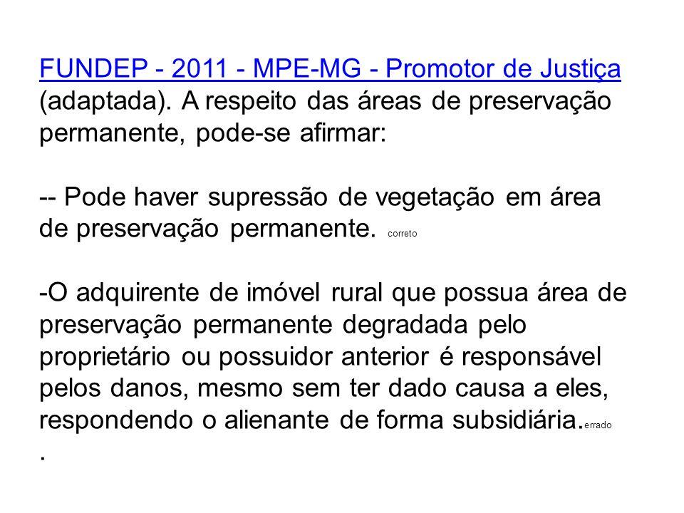 FUNDEP - 2011 - MPE-MG - Promotor de Justiça FUNDEP - 2011 - MPE-MG - Promotor de Justiça (adaptada). A respeito das áreas de preservação permanente,