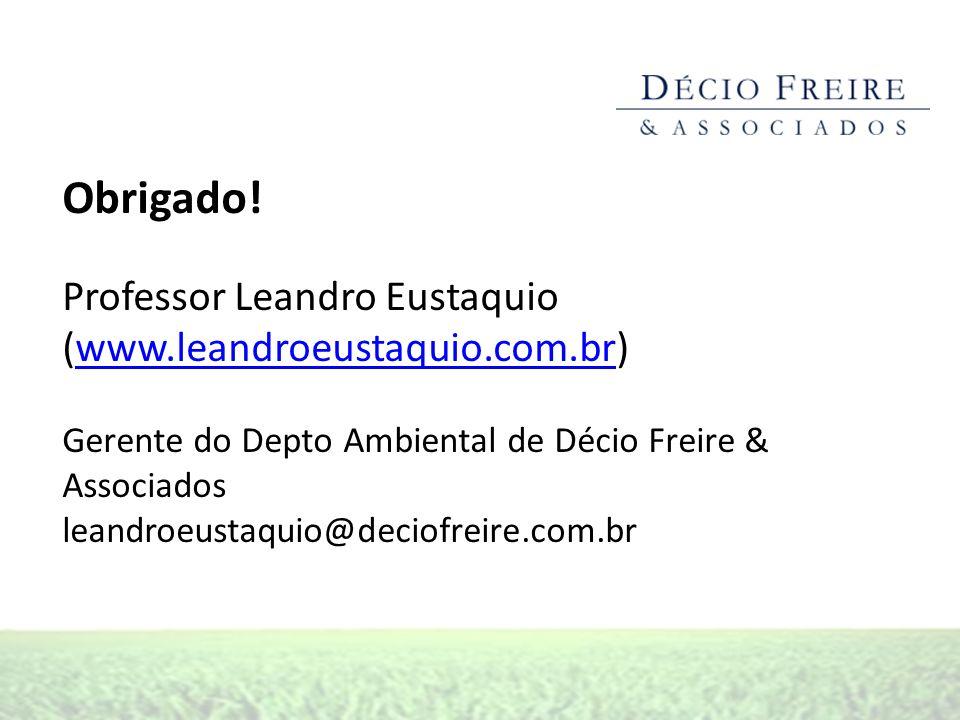 Obrigado! Professor Leandro Eustaquio (www.leandroeustaquio.com.br)www.leandroeustaquio.com.br Gerente do Depto Ambiental de Décio Freire & Associados