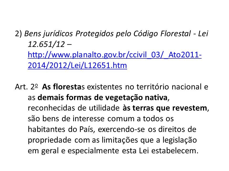 2) Bens jurídicos Protegidos pelo Código Florestal - Lei 12.651/12 – http://www.planalto.gov.br/ccivil_03/_Ato2011- 2014/2012/Lei/L12651.htm http://ww