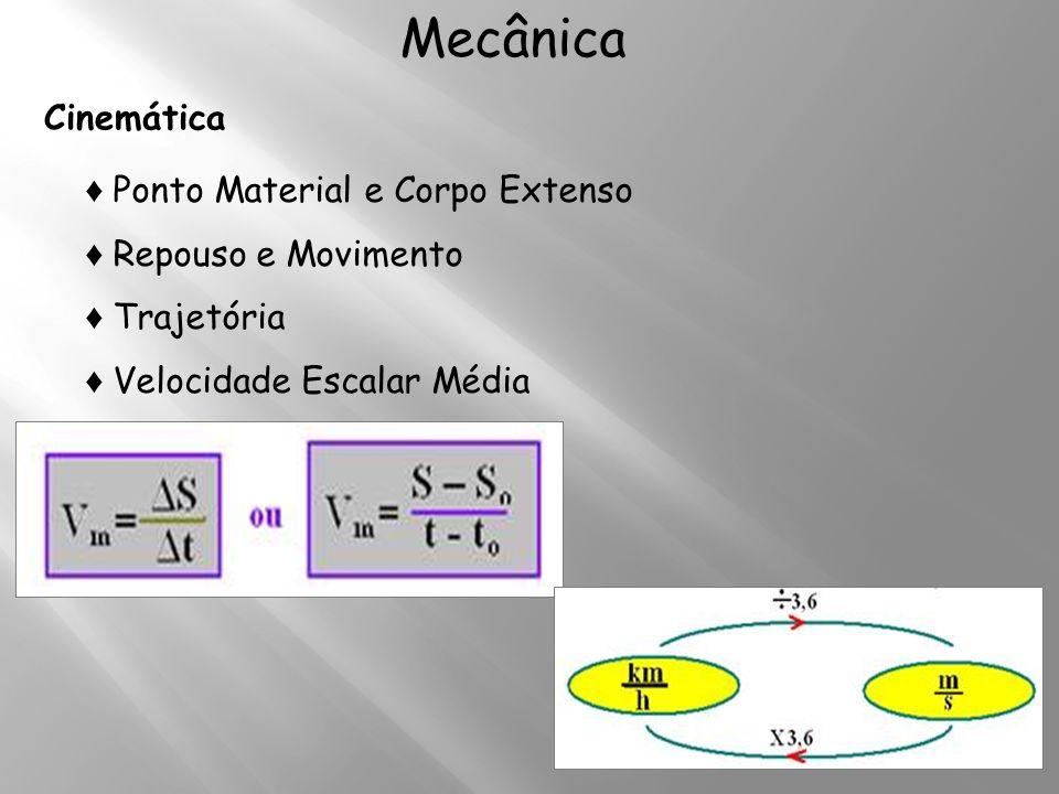 Mecânica Cinemática Ponto Material e Corpo Extenso Repouso e Movimento Trajetória Velocidade Escalar Média
