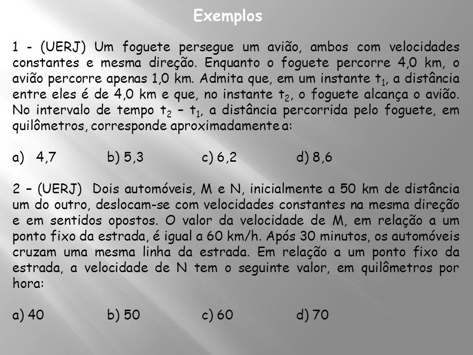1 - (UERJ) Um foguete persegue um avião, ambos com velocidades constantes e mesma direção. Enquanto o foguete percorre 4,0 km, o avião percorre apenas