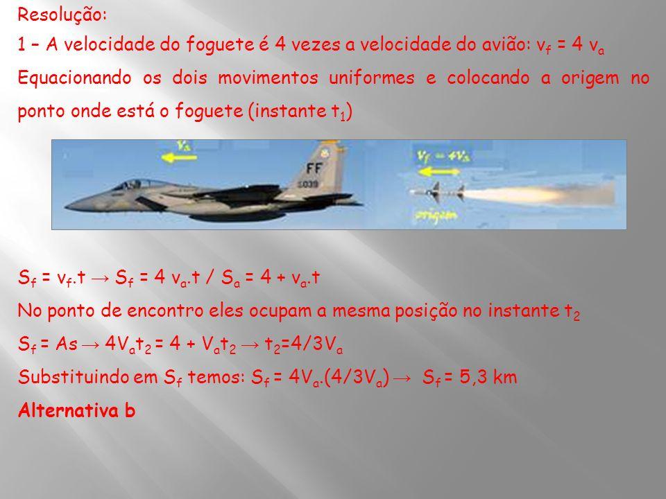 Resolução: 1 – A velocidade do foguete é 4 vezes a velocidade do avião: v f = 4 v a Equacionando os dois movimentos uniformes e colocando a origem no