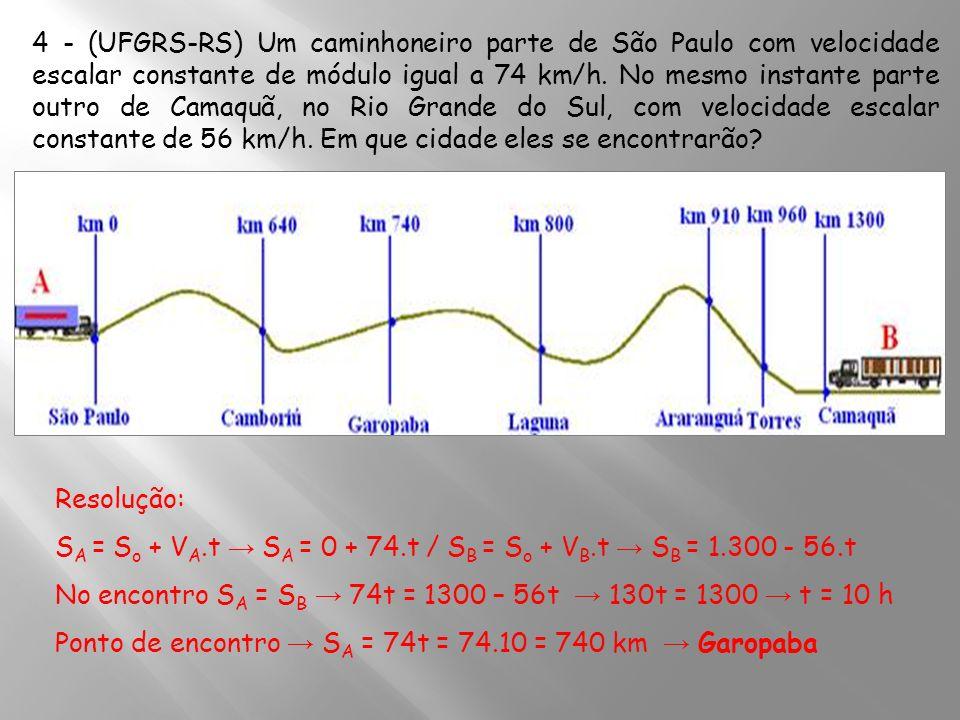 4 - (UFGRS-RS) Um caminhoneiro parte de São Paulo com velocidade escalar constante de módulo igual a 74 km/h. No mesmo instante parte outro de Camaquã