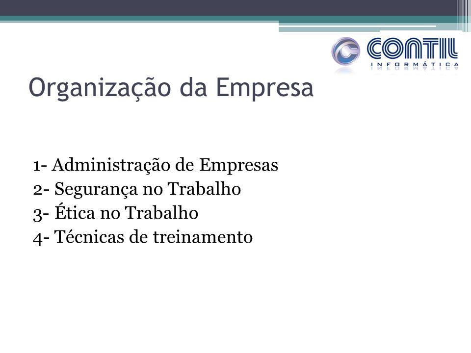 Organização da Empresa 1- Administração de Empresas 2- Segurança no Trabalho 3- Ética no Trabalho 4- Técnicas de treinamento