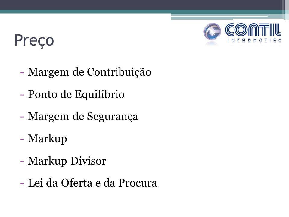 Preço -Margem de Contribuição -Ponto de Equilíbrio -Margem de Segurança -Markup -Markup Divisor -Lei da Oferta e da Procura