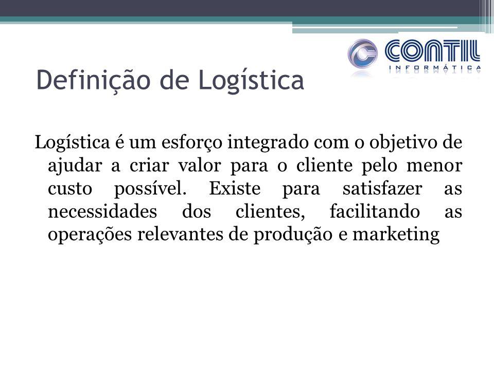 Definição de Logística Logística é um esforço integrado com o objetivo de ajudar a criar valor para o cliente pelo menor custo possível. Existe para s