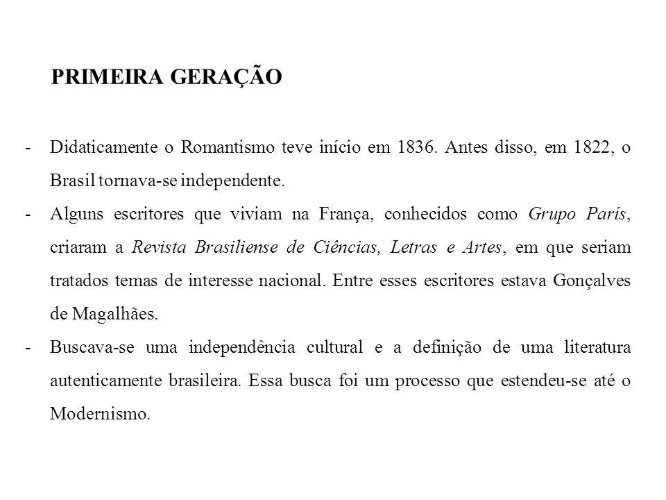 PRIMEIRA GERAÇÃO -Didaticamente o Romantismo teve início em 1836. Antes disso, em 1822, o Brasil tornava-se independente. -Alguns escritores que vivia