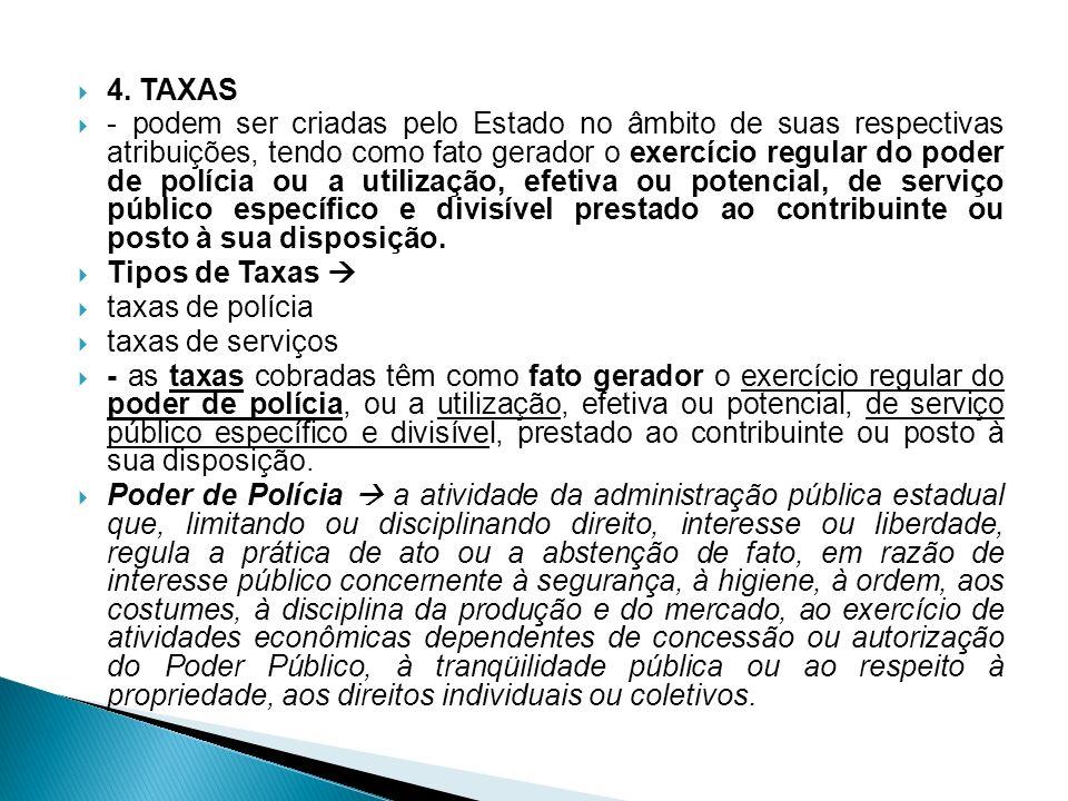 4. TAXAS - podem ser criadas pelo Estado no âmbito de suas respectivas atribuições, tendo como fato gerador o exercício regular do poder de polícia ou