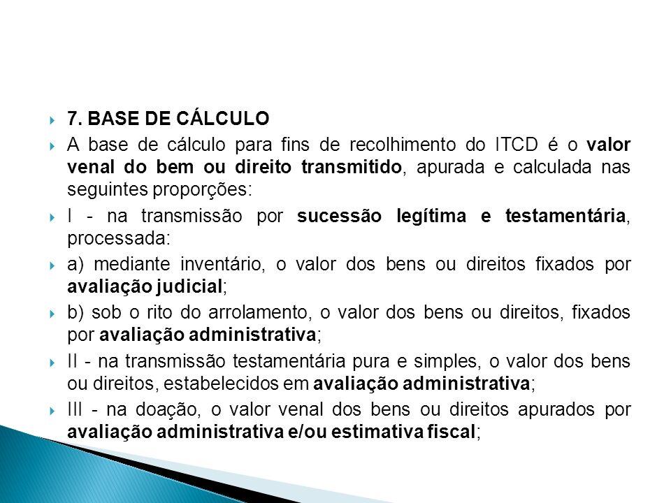 7. BASE DE CÁLCULO A base de cálculo para fins de recolhimento do ITCD é o valor venal do bem ou direito transmitido, apurada e calculada nas seguinte
