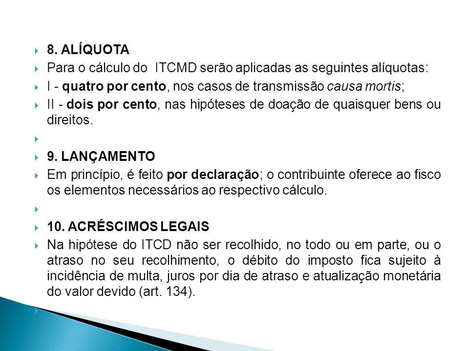 8. ALÍQUOTA Para o cálculo do ITCMD serão aplicadas as seguintes alíquotas: I - quatro por cento, nos casos de transmissão causa mortis; II - dois por