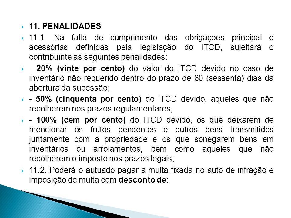11. PENALIDADES 11.1. Na falta de cumprimento das obrigações principal e acessórias definidas pela legislação do ITCD, sujeitará o contribuinte às seg