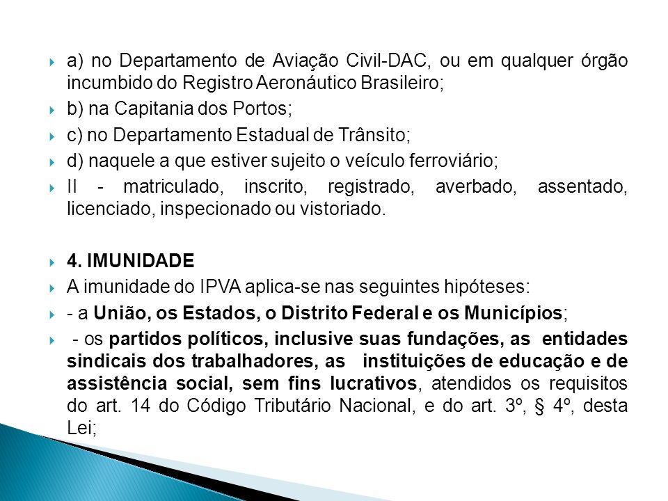 a) no Departamento de Aviação Civil-DAC, ou em qualquer órgão incumbido do Registro Aeronáutico Brasileiro; b) na Capitania dos Portos; c) no Departam