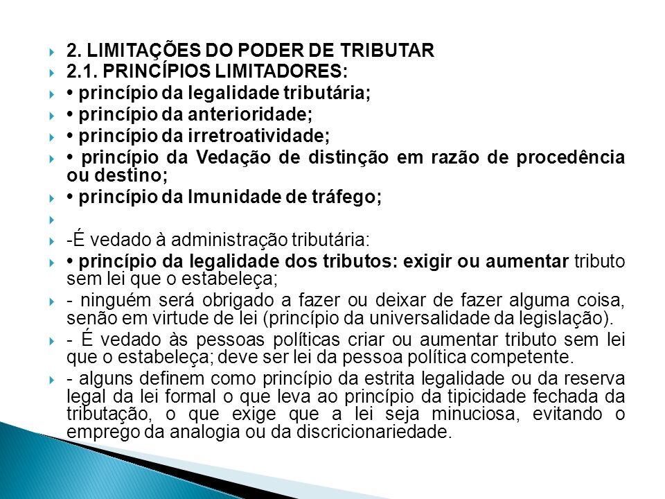 2. LIMITAÇÕES DO PODER DE TRIBUTAR 2.1. PRINCÍPIOS LIMITADORES: princípio da legalidade tributária; princípio da anterioridade; princípio da irretroat
