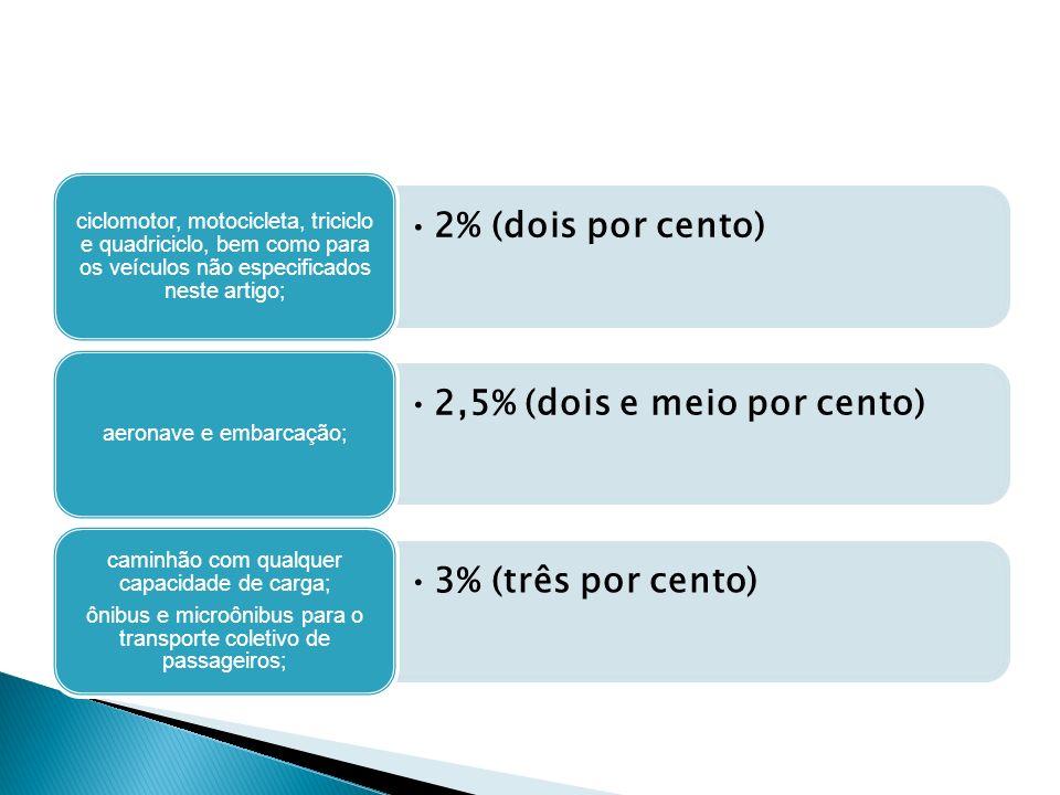 2% (dois por cento) ciclomotor, motocicleta, triciclo e quadriciclo, bem como para os veículos não especificados neste artigo; 2,5% (dois e meio por c