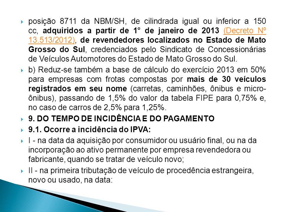 posição 8711 da NBM/SH, de cilindrada igual ou inferior a 150 cc, adquiridos a partir de 1° de janeiro de 2013 (Decreto Nº 13.513/2012), de revendedor