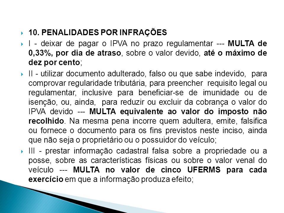 10. PENALIDADES POR INFRAÇÕES I - deixar de pagar o IPVA no prazo regulamentar MULTA de 0,33%, por dia de atraso, sobre o valor devido, até o máximo d