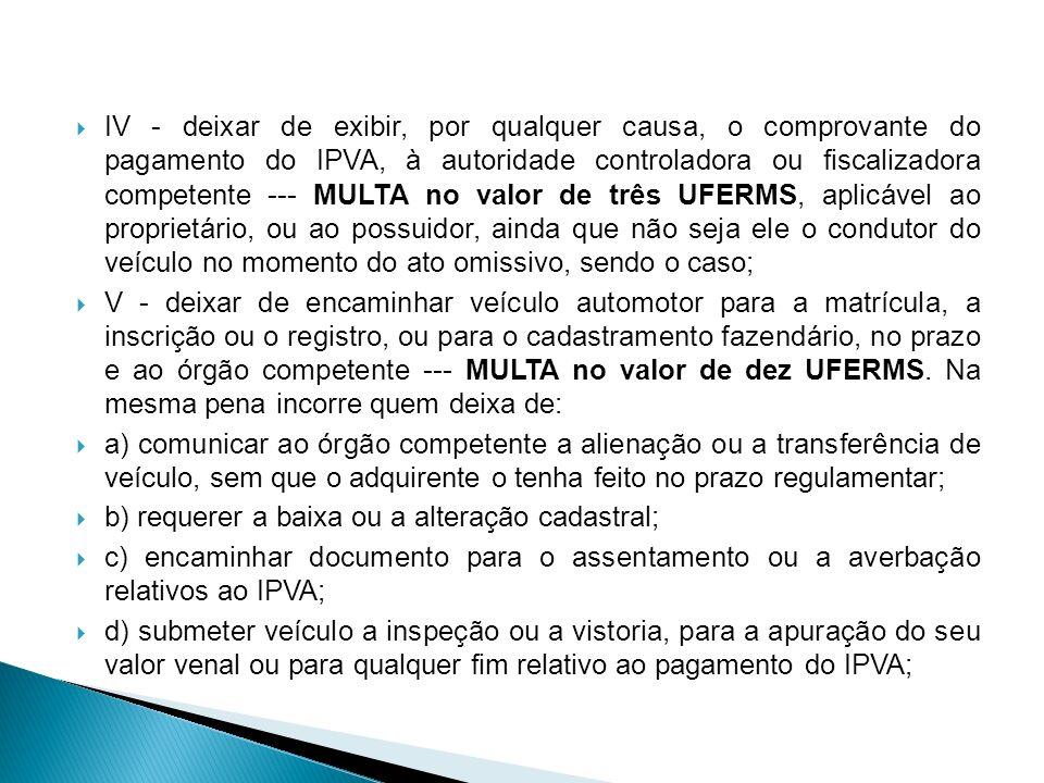 IV - deixar de exibir, por qualquer causa, o comprovante do pagamento do IPVA, à autoridade controladora ou fiscalizadora competente MULTA no valor de